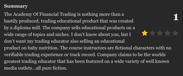 ACADEMY OF FINANCIAL TRADINGの口コミ・評判